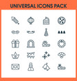 happy icons set with crown festive mask close vector image vector image