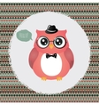hipster owl in textured frame design vector image vector image