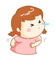 ill girl sneezing cartoon vector image vector image