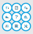 industry icons colored set with stepladder vector image vector image