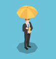isometric businessman with umbrella and document vector image