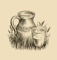 jug milk sketch dairy products vintage vector image