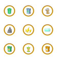 junk icons set cartoon style vector image vector image
