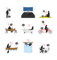 lover fitness set man and barbell in movie vector image vector image