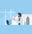 male researcher working glassware pharmaceutical vector image