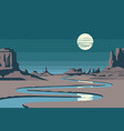 night western landscape with desert and river vector image