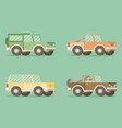 off road car set isolated on color background flat vector image vector image