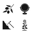 olive mirror and other web icon in black style vector image vector image