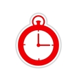 paper sticker on white background stopwatch Clock vector image vector image