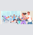 people doing sports workout in gym active young vector image