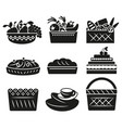 set black and white basckets with different vector image
