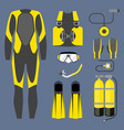 set of diving equipment icon wetsuit scuba gear vector image vector image