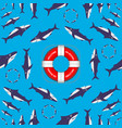sharks circling around the lifebuoy from titanic vector image vector image