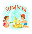 summer holidays children building sand castle vector image