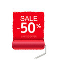 summer sale with red paint roller and paint stroke vector image vector image
