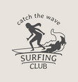 surfing club logo or symbol design with female vector image