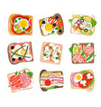 tasty sandwich set vector image vector image