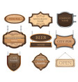 vintage wooden signboards a set different vector image vector image