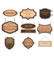 vintage wooden signboards a set different vector image