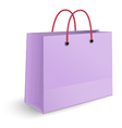 Violet paper shopping bag with yellow rope grips vector image vector image