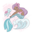 wave mermaid underwater princess walk vector image vector image