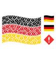 waving germany flag mosaic of error icons vector image