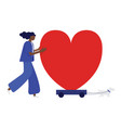 woman and her dog are moving the heart vector image