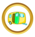 Yelllow camping trailer icon vector image