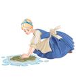 Sad Cinderella Cleaning the Floor vector image
