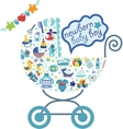 Newborn Baby boy icons in form of carriage vector image