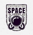 astronaut helmet badge with sample text vector image vector image