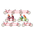 bicycle tandem riding by characters set vector image