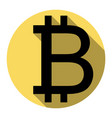 bitcoin sign flat black icon with flat vector image vector image