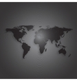 Black world map on dark background textured vector image vector image