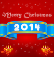 Blue ribbon 2014 Christmas background vector image
