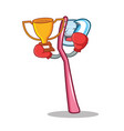 boxing winner toothbrush mascot cartoon style vector image vector image