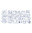 bundle of school supplies or stationery hand drawn vector image