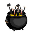 businessman in hellish cauldron boss is in hell vector image vector image