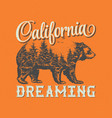 california dreaming t-shirt label design vector image vector image