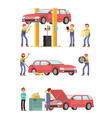 car repair auto service with mechanic characters vector image vector image