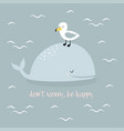 card with whale in scandinavian style vector image vector image