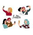 cartoon selfie set vector image