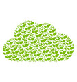 cloud collage of floral leaves icons vector image vector image