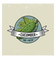 cucumber vintage set of labels emblems or logo vector image vector image