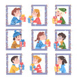 cute boys and girls looking out windows set vector image vector image
