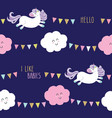 cute unicorn seamless pattern background with vector image