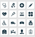 drug icons set collection of cure healer cap vector image