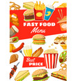 fast food menu of street meals and drinks vector image vector image
