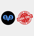 financial sum icon and scratched cash only vector image vector image