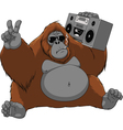 funny monkey with a tape recorder vector image vector image